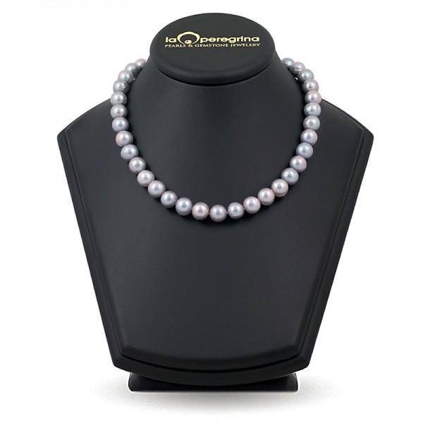 Ожерелье из серебряного пресноводного жемчуга крупного размера 10,0 - 10,5 мм