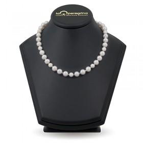 Ожерелье из натурального жемчуга ААА 9,0 - 9,5 мм со вставками-бусинами из серебра 925