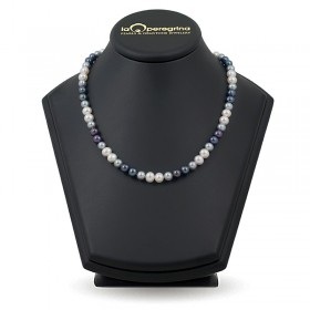 Ожерелье из белого и черного пресноводного жемчуга