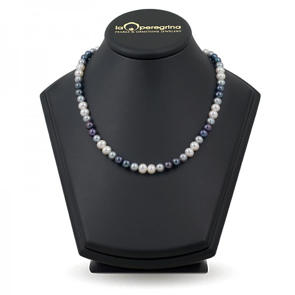 Multicolor necklace made of natural pearls 7.5 - 8.0 mm