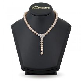 Ожерелье-галстук из натурального жемчуга ААА 7,5 - 8,0 мм