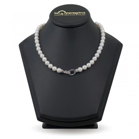 Necklace made of natural pearls AAA 9.0 - 9.5 mm with a lock in 925 silver with cubic zirconias