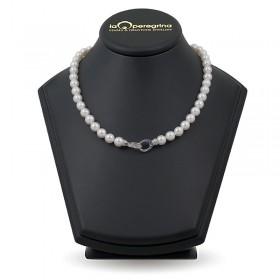 Ожерелье из белого пресноводного жемчуга ААА, 7,5 - 8,0 мм с серебряным замком в виде двух колец