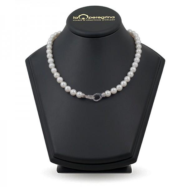 Ожерелье из натурального жемчуга ААА 9,0 - 9,5 мм с замком из серебра 925 с фианитами