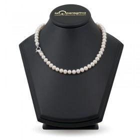 Ожерелье из натурального жемчуга AAA 9,0 - 9,5 мм с замком из серебра 925 с фианитами