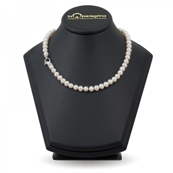 AAA Natural Pearl Necklace 9.0 - 9.5 mm with snap lock in silver 925 with pianos