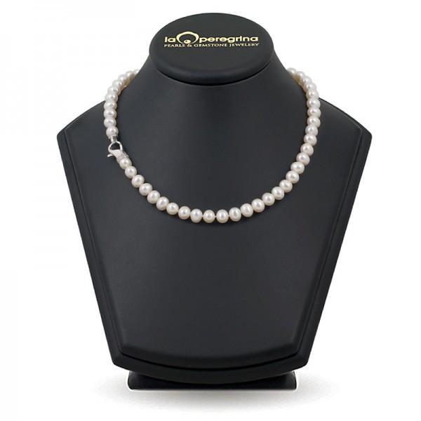 Ожерелье из натурального жемчуга AAA 9,0 - 9,5 мм с замком-карабином из серебра 925 с фианиатми