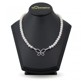 AAA Natural Pearl Necklace 9.0 - 9.5 mm with 925 silver pendant lock with cubic zirconia