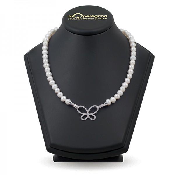 Ожерелье из натурального жемчуга ААА 9,0 - 9,5 мм с замком-подвеской
