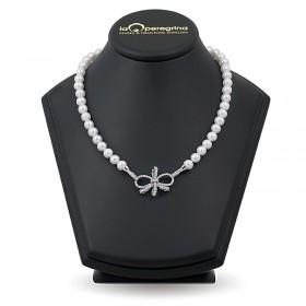 Ожерелье из натурального жемчуга ААА 9,0 - 9,5 мм с замком-подвеской из серебра 925 с фианитами