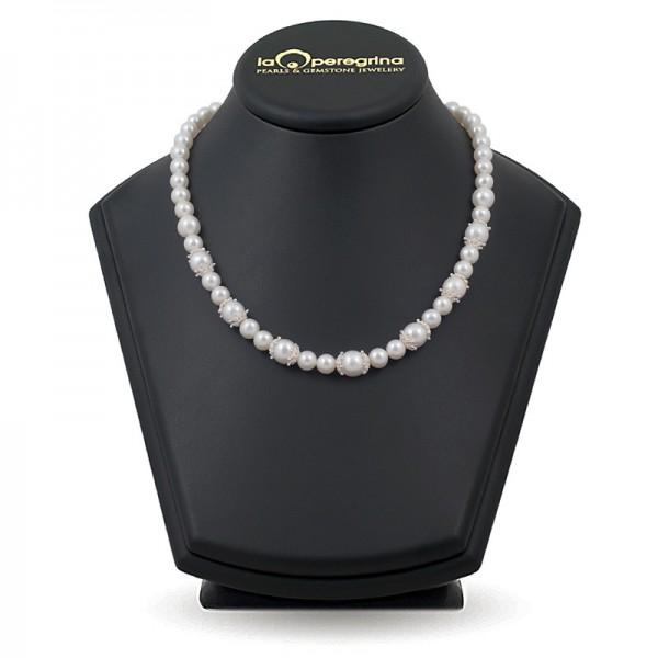 Ожерелье из натурального жемчуга ААА 7,5 - 8,0 мм с вставками из серебра 925