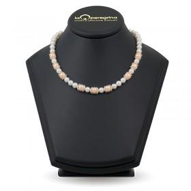 Ожерелье из натурального жемчуга ААА 7,5 и 9,5 мм с вставками из серебра 925