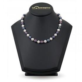 Ожерелье из натурального жемчуга ААА 9,0 - 9,5 мм с вставками-бусинами из серебра 925