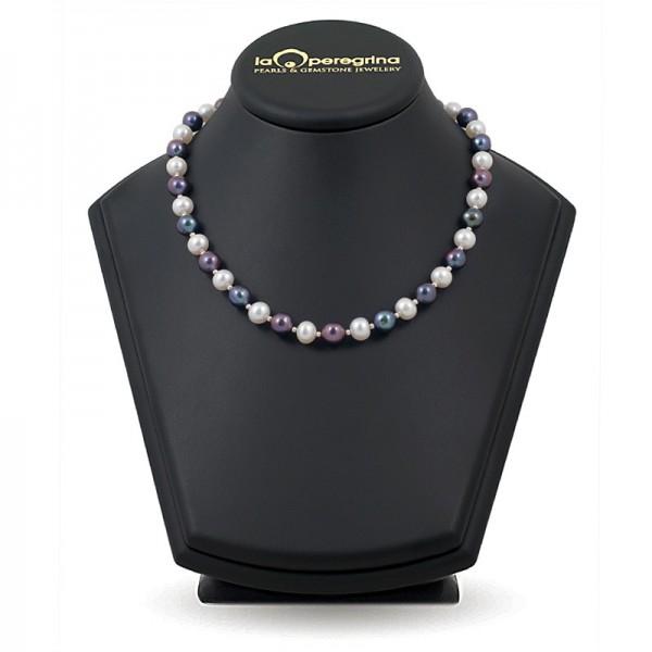 Ожерелье из белого пресноводного жемчуга ААА, 9,0 - 9,5 мм с серебряными вставками-бусинами