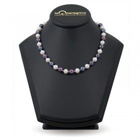 Natural pearl necklace 9.0 - 9.5 mm with 925 silver beads