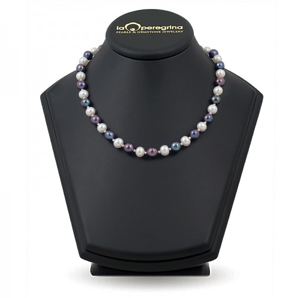 AAA Natural Pearl Necklace 9.0 - 9.5 mm with 925 silver beads