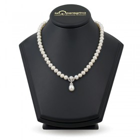 Necklace made of natural pearls AA + 7.5 - 8.0 mm with pendant in silver 925