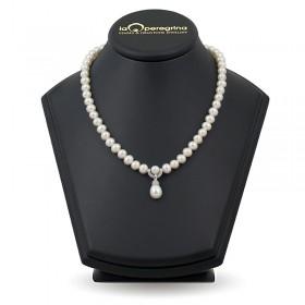 Ожерелье из натурального жемчуга АА+ 7,5 - 8,0 мм с подвеской из серебра 925