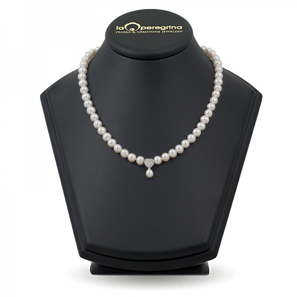 AAA Natural Pearl Necklace 7.5 - 8.0 mm with 925 sterling silver pendant