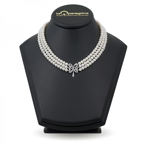 """Ожерелье на """"жемчужную"""" свадьбу с сербряными бусинами вставками."""