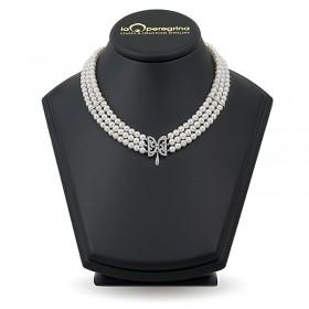 Тройное ожерелье из натурального жемчуга AAA+ 4,0 - 4,5 мм с вставками из серебра 925