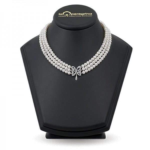 Тройное ожерелье из натурального жемчуга AAA+ 5,0 - 6,0 мм с вставками из серебра 925