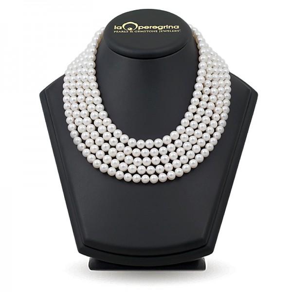 Ожерелье из пяти нитей натурального жемчуга ААА 7,5 - 8,0 мм