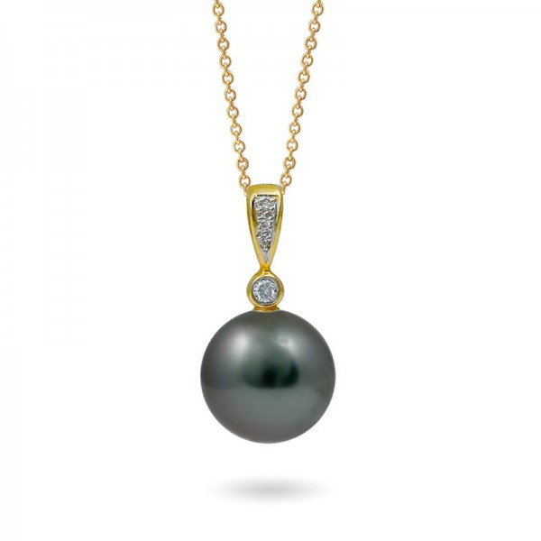 Gold pendant 585 with marine Tahitian pearls and diamonds