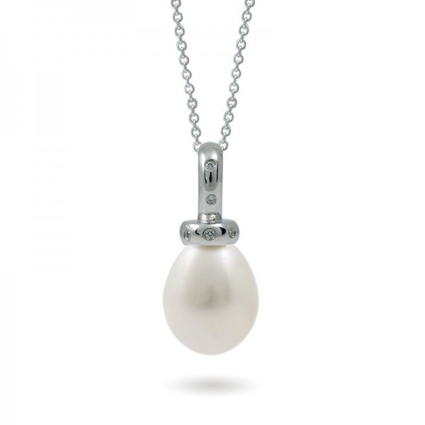 585 White Gold Pendant with Natural Pearl