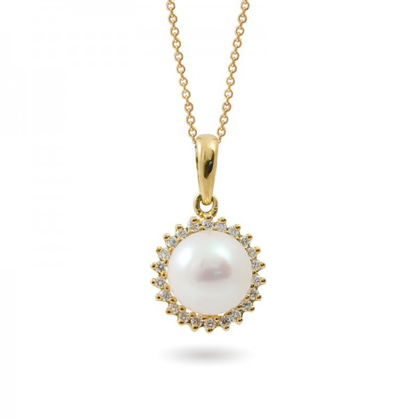 Sterling Gold Pendant with Akoya Sea Pearls and Diamonds