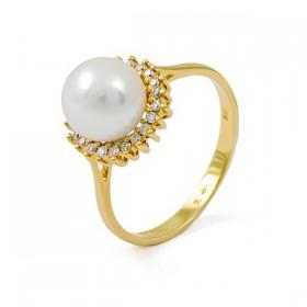 Кольцо из золота 585 пробы с морским жемчугом Акоя и 24 бриллиантами 0,12K
